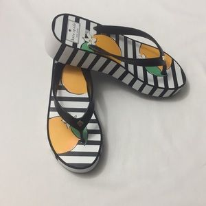 Kate Spade Orange Pattern Flip Flops